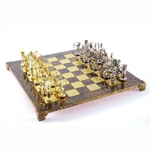 """Шахматный набор """"Лучники Античные войны"""" коричневая доска 44x44 см, фигуры золото-серебро"""