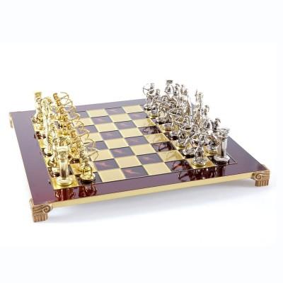 """Шахматный набор """"Лучники Античные войны"""" красная доска 44x44 см, фигуры золото-серебро"""