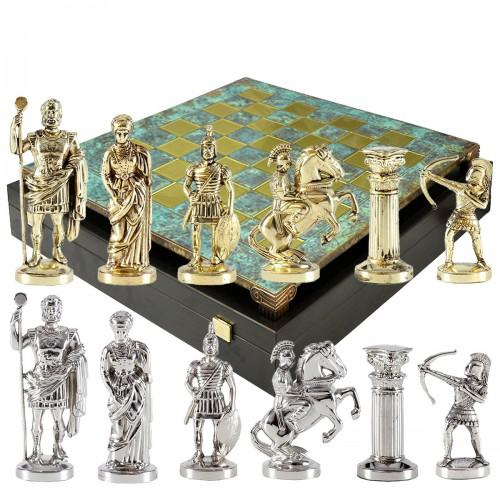 """Шахматный набор """"Лучники Античные войны"""" патиновая доска 28x28 см, фигуры золото-серебро"""