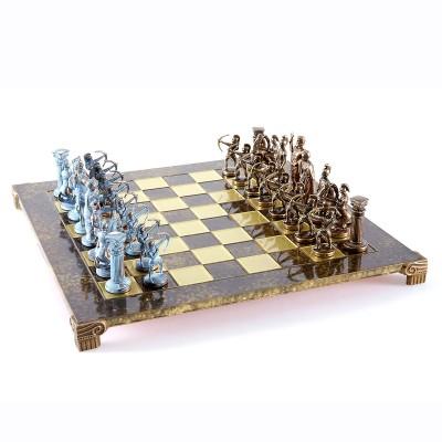 """Шахматный набор """"Лучники Античные войны"""" коричневая доска 44x44 см, фигуры бронза-патина"""