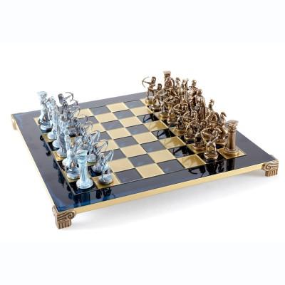 """Шахматный набор """"Лучники Античные войны"""" синяя доска 44x44 см, фигуры бронза-патина"""