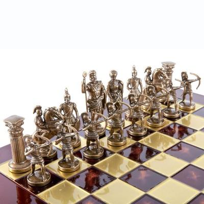 """Шахматный набор """"Лучники Античные войны"""" красная доска 44x44 см, фигуры золото-бронза"""