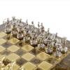"""Шахматный набор """"Лучники Античные войны"""" коричневая доска 28x28 см, фигуры золото-серебро"""