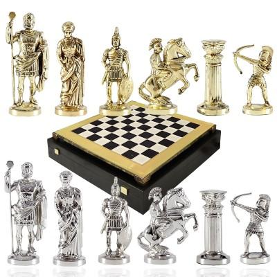 """Шахматный набор """"Лучники Античные войны"""" черно-белая доска 28x28 см, фигуры золото-серебро"""
