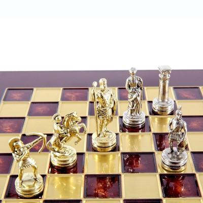 """Шахматный набор """"Лучники Античные войны"""" красная доска 28x28 см, фигуры золото-серебро"""