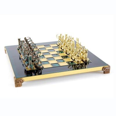 """Шахматный набор """"Лучники Античные войны"""" зеленая доска 28x28 см, фигуры золото-антик"""