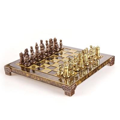 """Шахматный набор """"Византийская Империя"""" коричневая доска 20x20 см, фигуры золото-бронза"""