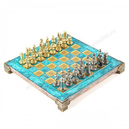 """Шахматный набор """"Византийская Империя"""" патиновая доска 20x20 см, фигуры золото-серебро"""