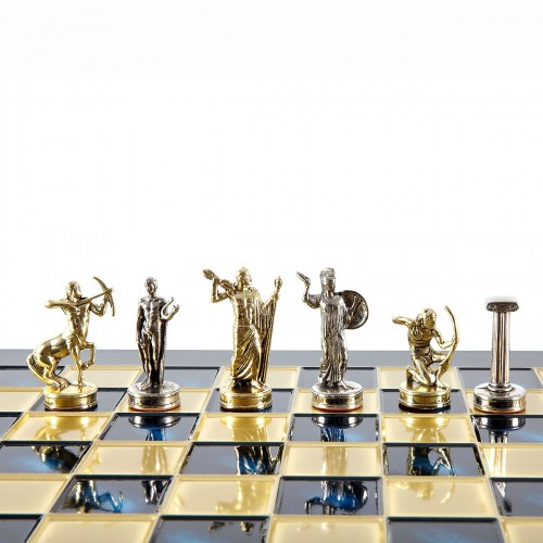 "Шахматный набор ""Битва Титанов"" синяя доска 36x36 см, фигуры золото-серебро"