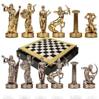 """Шахматный набор """"Битва Титанов"""" черно-белая доска 36x36 см, фигуры золото-серебро"""