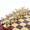"""Шахматный набор """"Битва Титанов"""" красная доска 36x36 см, фигуры золото-серебро"""
