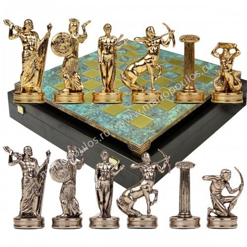 """Шахматный набор """"Битва Титанов"""" патиновая доска 36x36 см, фигуры золото-серебро"""