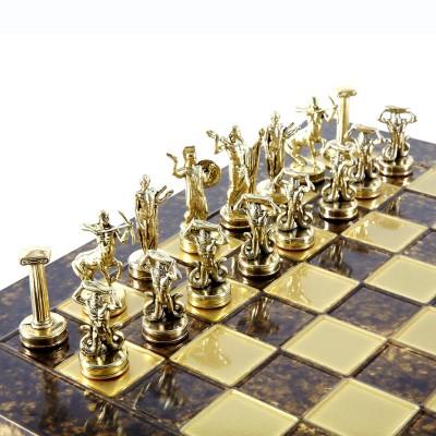 """Шахматный набор """"Греческие Боги"""" коричневая доска 36x36 см, фигуры золото-серебро"""