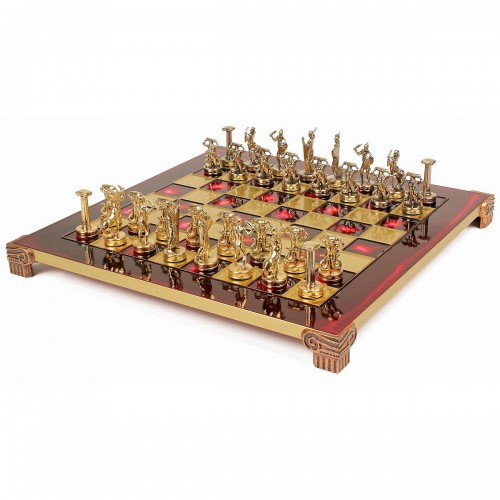 """Шахматный набор """"Греческие Боги"""" красная доска 36x36 см, фигуры золото-серебро"""