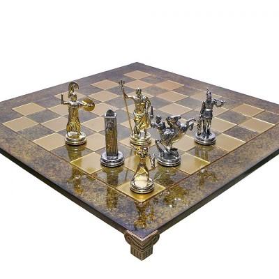 """Шахматный набор """"Греческая Мифология"""" коричневая доска 54x54 см, фигуры золото-серебро"""