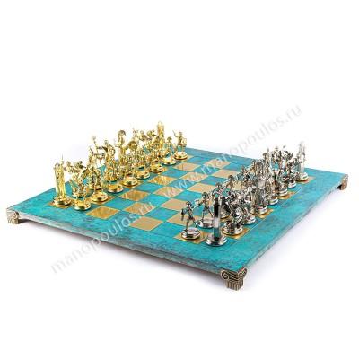 """Шахматный набор """"Греческая Мифология"""" патиновая доска 54x54 см, фигуры золото-серебро"""