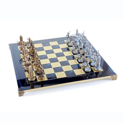 """Шахматный набор """"Греческая Мифология"""" синяя доска 54x54 см, фигуры бронза-патина"""