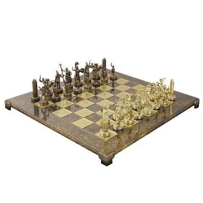 """Шахматный набор """"Греческая Мифология"""" коричневая доска 54x54 см, фигуры золото-бронза"""