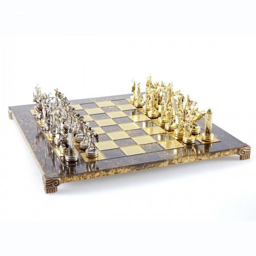 """Шахматный набор """"Греческая Мифология"""" коричневая доска 36x36 см, фигуры золото-серебро"""