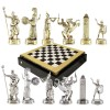 """Шахматный набор """"Греческая Мифология"""" черно-белая доска 36x36 см, фигуры золото-серебро"""