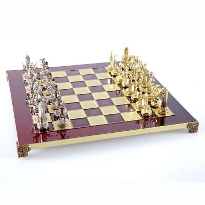 """Шахматный набор """"Греческая Мифология"""" красная доска 36x36 см, фигуры золото-серебро"""