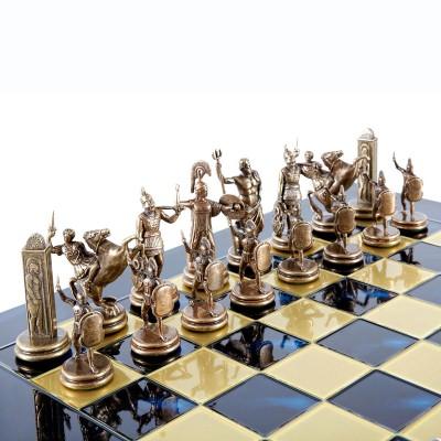 """Шахматный набор """"Греческая Мифология"""" синяя доска 36x36 см, фигуры бронза-патина"""