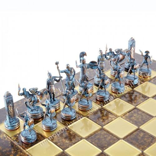 """Шахматный набор """"Греческая Мифология"""" коричневая доска 36x36 см, фигуры бронза-патина"""