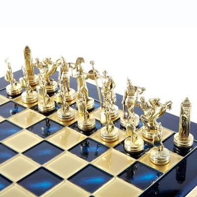"""Шахматный набор """"Греческая Мифология"""" синяя доска 36x36 см, фигуры золото-бронза"""