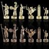 """Шахматный набор """"Греческая Мифология"""" красная доска 36x36 см, фигуры золото-бронза"""