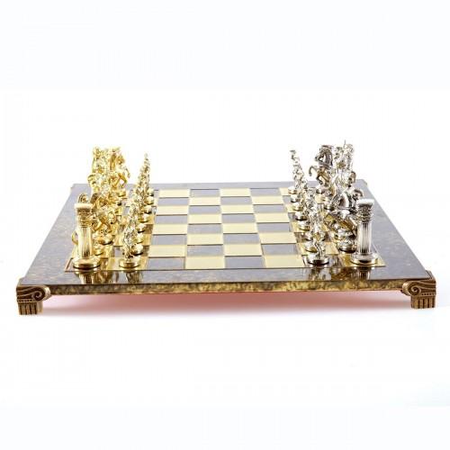 """Шахматный набор """"Греко-Римский период"""" коричневая доска 44x44 см, фигуры золото-серебро"""