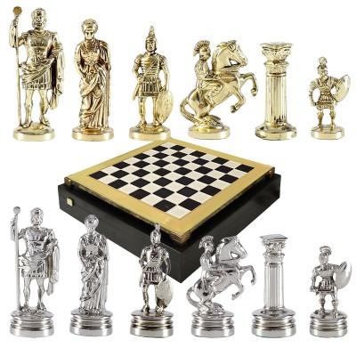 """Шахматный набор """"Греко-Римский период"""" черно-белая доска 44x44 см, фигуры золото-серебро"""