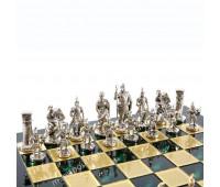 """Шахматный набор """"Греко-Римский период"""" зеленая доска 44x44 см, фигуры золото-серебро"""