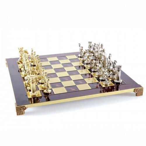 """Шахматный набор """"Греко-Римский период"""" красная доска 44x44 см, фигуры золото-серебро"""