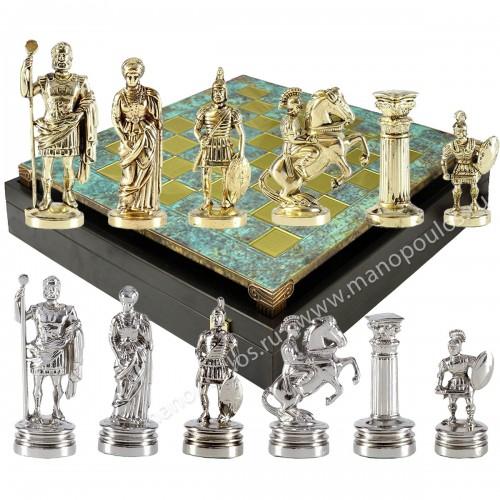 """Шахматный набор """"Греко-Римский период"""" патиновая доска 44x44 см, фигуры золото-серебро"""