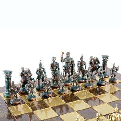 """Шахматный набор """"Греко-Римский период"""" коричневая доска 44x44 см, фигуры золото-антик"""