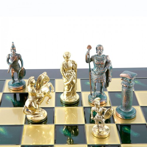 """Шахматный набор """"Греко-Римский период"""" зеленая доска 44x44 см, фигуры золото-антик"""
