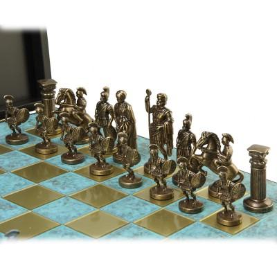 """Шахматный набор """"Греко-Римский период"""" патиновая доска 44x44 см, фигуры бронза-патина"""