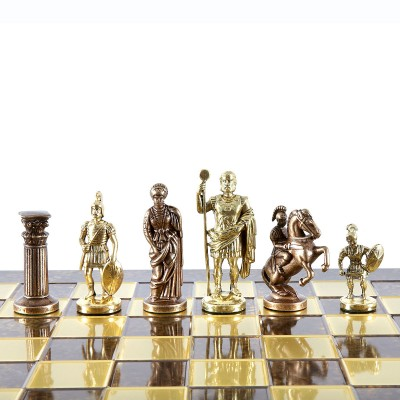 """Шахматный набор """"Греко-Римский период"""" коричневая доска 44x44 см, фигуры золото-бронза"""