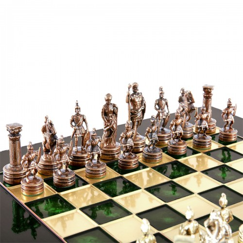 """Шахматный набор """"Греко-Римский период"""" зеленая доска 44x44 см, фигуры золото-бронза"""