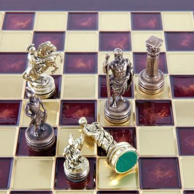 """Шахматный набор """"Греко-Римский период"""" красная доска 44x44 см, фигуры золото-бронза"""