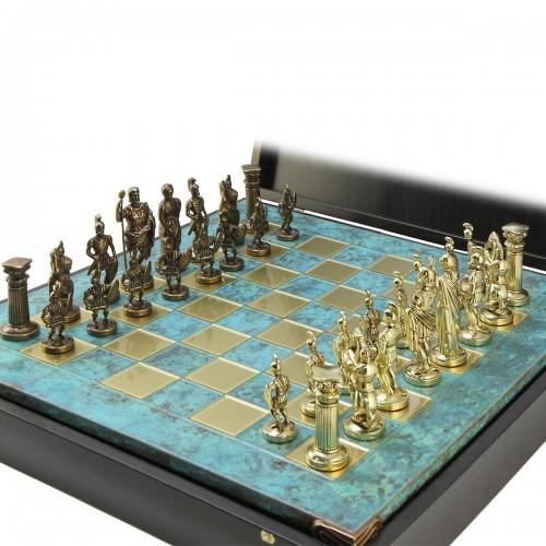 """Шахматный набор """"Греко-Римский период"""" патиновая доска 44x44 см, фигуры золото-бронза"""