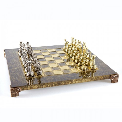 """Шахматный набор """"Греко-Римский период"""" коричневая доска 28x28 см, фигуры золото-серебро"""