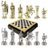 """Шахматный набор """"Греко-Римский период"""" черно-белая доска 28x28 см, фигуры золото-серебро"""