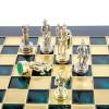 """Шахматный набор """"Греко-Римский период"""" зеленая доска 28x28 см, фигуры золото-серебро"""