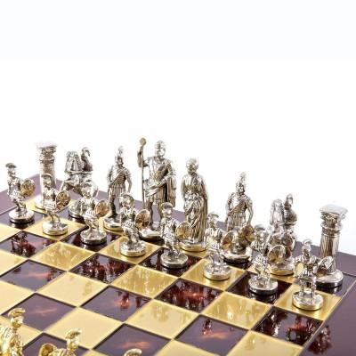 """Шахматный набор """"Греко-Римский период"""" красная доска 28x28 см, фигуры золото-серебро"""