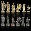 """Шахматный набор """"Греко-Римский период"""" зеленая доска 28x28 см, фигуры золото-антик"""