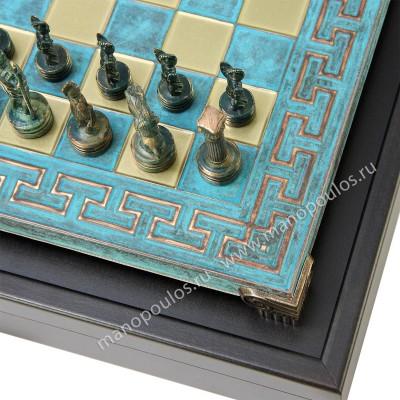 """Шахматный набор """"Греко-Римский период"""" патиновая доска 28x28 см, фигуры золото-антик"""