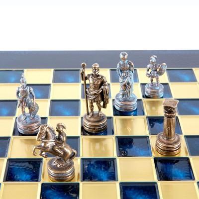 """Шахматный набор """"Греко-Римский период"""" синяя доска 28x28 см, фигуры бронза-патина"""