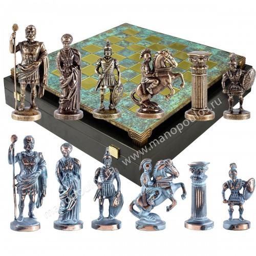 """Шахматный набор """"Греко-Римский период"""" патиновая доска 28x28 см, фигуры бронза-патина"""