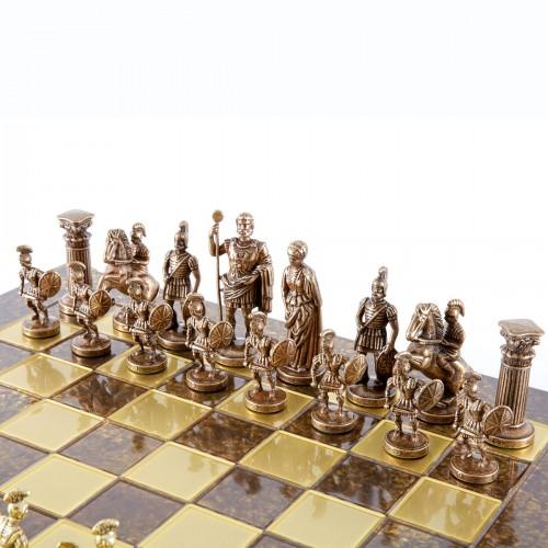 """Шахматный набор """"Греко-Римский период"""" коричневая доска 28x28 см, фигуры золото-бронза"""